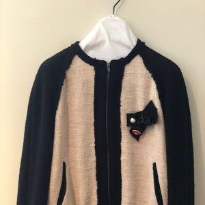 Zara twill blk/cream jacket w back garden pattern